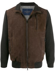 Paul And Shark Contrast Texture Colour Block Jacket Brown