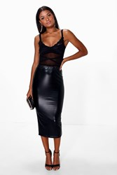 Boohoo Metallic Longer Line Bodycon Midi Skirt Black