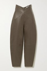 Attico Leather Tapered Pants Army Green