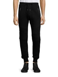 The Kooples Quilted Panel Sweatpants Black
