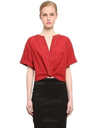Donna Karan Cotton Crop Top With Knot