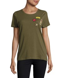 Vero Moda Roundneck Embroidered Cotton Tee Green