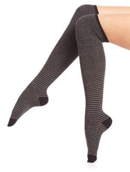 Ilux Nobo Skinny Stripe Knee High Socks Midnight Black Charcoal