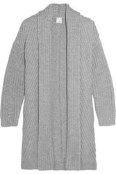 Iris And Ink Nicole Ribbed Merino Wool Cardigan Gray