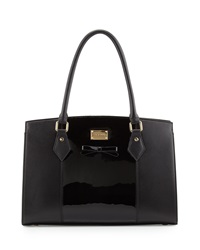 St. John Patent Smooth Leather Bow Tote Bag Black Gold