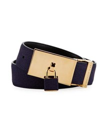Buscemi 100Mm Padlock Buckle Nubuck Belt Blue Ink
