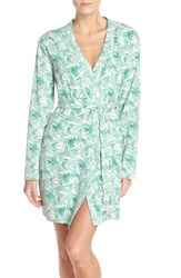 Women's Ugg 'Clio Island' Floral Print Waffle Knit Robe Green