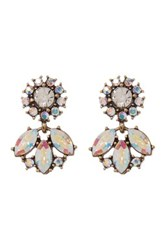 Stella Ruby Crystal Flower Earrings Metallic