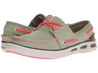 Columbia Vulc N Vent Boat Canvas Cool Moss Laser Red Women's Shoes Olive
