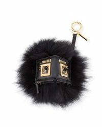 Fendi Hypno Bugs Fur Charm For Handbag Black