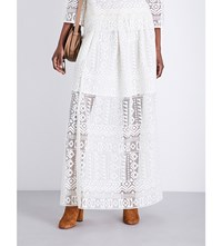 Philosophy Di Lorenzo Serafini Pleated Macrame Lace Maxi Skirt White