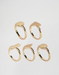 Asos Pack Of 5 Brushed Shape Stack Rings Gold