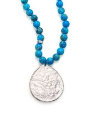 Nest Turquoise Jasper Beaded Teardrop Pendant Necklace Silver Turquoise