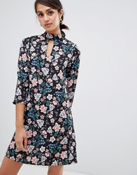 Girls On Film Floral Shift Dress With Choker Neck Detail Multi