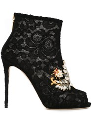 Dolce And Gabbana Embellished Taormina Lace Booties Black
