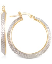 Macy's Two Tone Textured Hoop Earrings In 14K Yellow And White Gold Two Tone