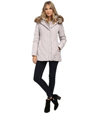 Jessica Simpson Quilted Down With Faux Fur Trim Pearl Women's Coat White