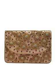 La Regale Home Spun Beaded Canvas Clutch Natural