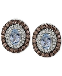 Le Vian Chocolatier Aquamarine 1 Ct. T.W. And Diamond 1 1 5 Ct. T.W. Stud Earrings In 14K White Gold Blue