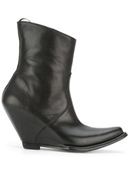 Unravel Project Low Curved Point Boots Women Leather 36 Black