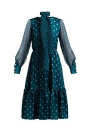 Luisa Beccaria Polka Dot Silk Midi Dress Blue Multi
