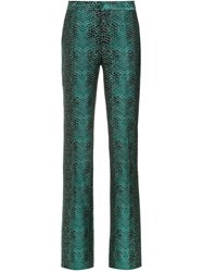 Tufi Duek Snakeskin Print Flared Trousers Cotton Acetate Green