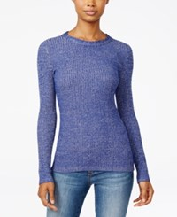 It's Our Time Hooked Up By Juniors' Marled Zip Back Rib Knit Sweater Faded Indigo