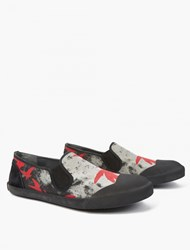 Lanvin Printed Canvas Slip On Sneakers Red