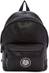 Versus Black Leather Logo Backpack
