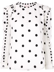 Rebecca Taylor Embroidered Polka Dot Blouse White