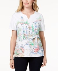 Alfred Dunner Scenic Cafe Print T Shirt Multi