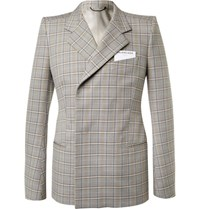Balenciaga Beige Double Breasted Checked Cotton Suit Jacket Beige