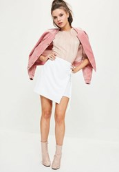 Missguided Petite Exclusive White Wrap Belted Mini Skirt