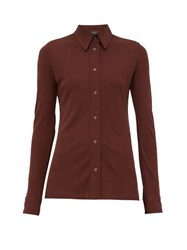 Joseph Button Down Crepe Jersey Shirt Burgundy