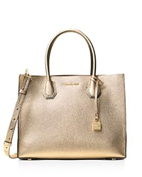 Michael Michael Kors Studio Mercer Large Convertible Metallic Pebbled Leather Tote Pale Gold Gold