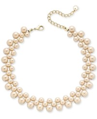 Charter Club Gold Tone Pink Imitation Pearl Choker Necklace Only At Macy's