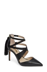 Louise Et Cie Jemmy Strappy Pointy Toe Pump Black Leather