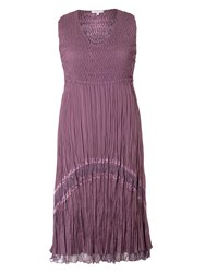 Chesca Plus Size Crush Pleat Sleeveless Lace Trim Dress Purple