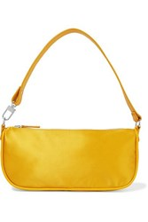 By Far Rachel Leather Trimmed Silk Shoulder Bag Yellow