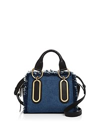 See By Chloe Paige Fringed Denim Satchel Denim Gold