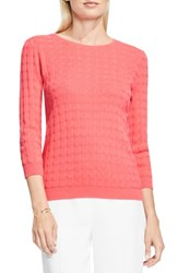 Vince Camuto Women's Dot Stitch Sweater Coral Passion