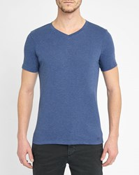 M.Studio Mottled Dark Blue Emile Jersey V Neck T Shirt