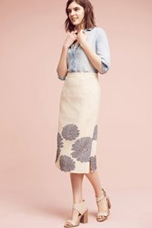 Anthropologie Maryanne Midi Skirt Neutral Motif