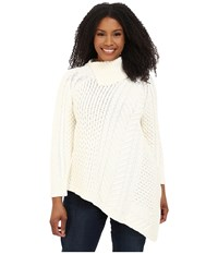 Vince Camuto Plus Size Long Sleeve Asymetrical Hem Turtleneck Mix Cable Sweater Antiq White Women's Sweater Gray