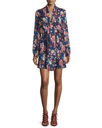Haute Hippie Free Love Floral Silk Mini Dress San Franciscan Night San Fransiscan Ni