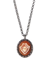 Skull Shield Carnelian Necklace With Diamonds Amedeo White
