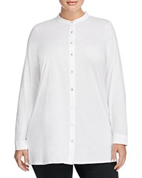 Eileen Fisher Plus Mandarin Collar Knit Tunic White
