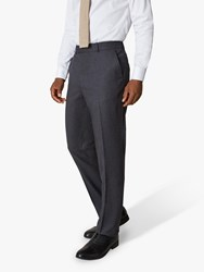 Jaeger 135 Wool Flannel Regular Fit Suit Trousers Charcoal