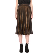 Warehouse Sunray Pleated Midi Skirt Brown
