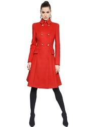 Versace Flared Double Wool Blend Coat